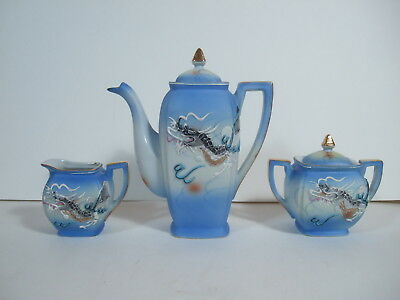 Antique Benson Blue & White Dragon ware Teapot Set With Gold Trim Made in Japan