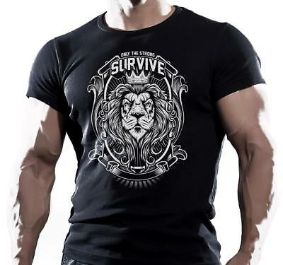 ONLY STRONG LION  MENS COTTON MMA, BODYBUILDING MOTIVATION T-Shirt SIZE S