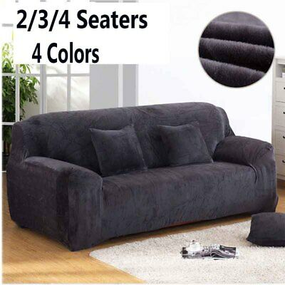 Plush Soft Sofa Couch Stretch 2/3/4 Seater Protector Cover Mat Slipcover Decor