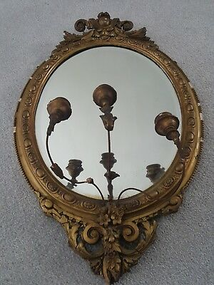 Victorian Composition Girandole Gilded Mirror With Triple Branch Candelabra