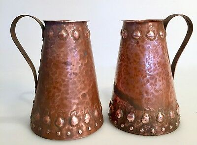 Pair Antique Arts & Crafts Hammered Copper Tankards Embossed Repousse Rivets