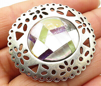 CAROLYN POLLACK RELIOS 925 Silver - Vintage MOP Carved Out Brooch Pin - BP2264