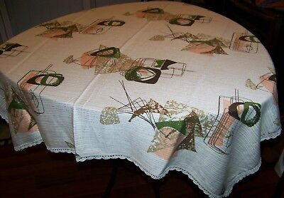 "Vintage Eames era Mid-Century Modern Tablecloth Atomic 45"" by 49"""