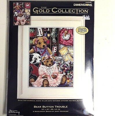Dimensions Gold Collection Kit Needlepoint BEAR BUTTON 3D Texture Girl Boy 20048