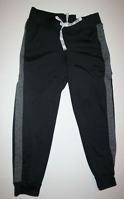 New Justice Girls Pants Joggers Crop Active Black with Gray Stripe 10 year