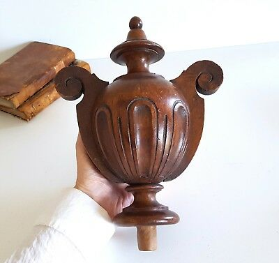 """Tall antique French newel post finial end Salvaged turned carved wood 9.17"""""""