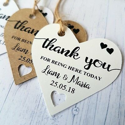 Personalised Wedding Favour Heart Tags Thank You Guest Gift Labels Tags TGS 223