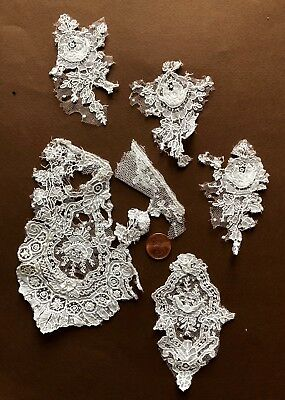 Handmade 19th C. Brussels Point de Gaze needle lace study bits CRAFT COLLECT