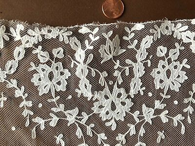 Handmade Belgian Carrickmacross lace modesty small panel  COSTUME COLLECT CRAFT