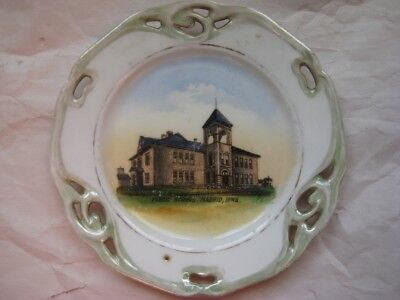 Antique Madrid Iowa Public School Souvenir China Plate, Made in Germany