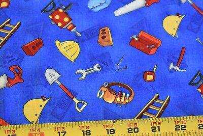 Construction Tools on Blue Fabric//SSI//Cat Williams//Building Up N3983 By 1//2 Yd