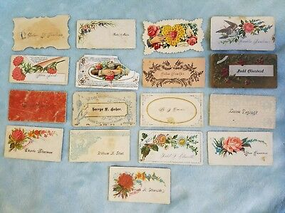 Antique Calling Cards Schoolmates Valentines Name Exchange Old lot rare Emphera