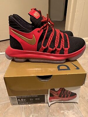 52d4146cb33 NIKE ZOOM KD 10 LE (GS) Black Red Gold AJ7220-076 Youth 5    8.99 ...