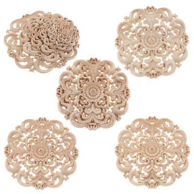 1x Carved Wood Flower Appliques Western Design Cabinet Decal For House Decor