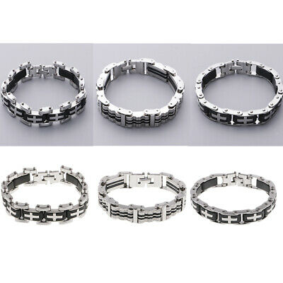 Men Stainless Steel Silicone Bracelet Bangles Anniversary Valentine's Gifts