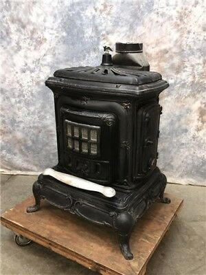 Antique Cast Iron Wood Burning Stove, Parlor Stove, Furnace Heater, Cook Stove