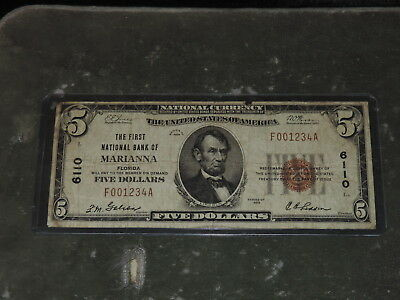 1929 United States 5-Dollar National Currency Note - Marianna. FL