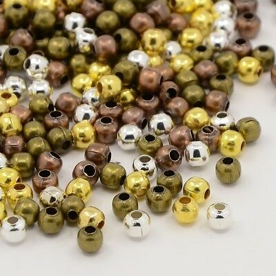 200pc 4mm mix color metal round beads//spacers-S209