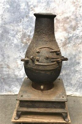 Industrial Cast Iron Chiminea Outdoor Fireplace, Wood Burning Chiminea Fire Pit
