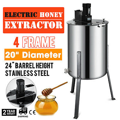 """4 Frame Electric Honey Extractor 24"""" Barrel Height 120 W Motor Plastic Gate"""