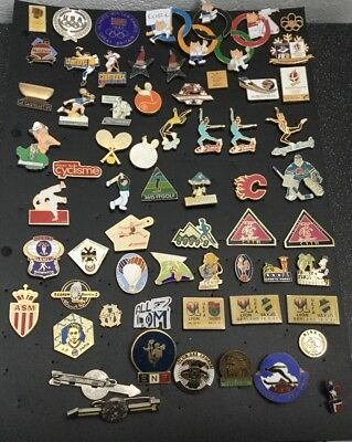 Lot 65 pins et Badge Sport - FOOTBALL - JEUX OLYMPIQUES - SKI - TENNIS - NHL