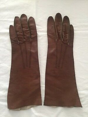 Vintage Ladies Leather Gloves Table Cut-PERRIN~Brown~Sz 6~SOFT