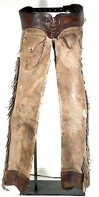 Early pair of fringed and cuffed shotgun chaps.