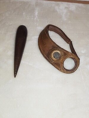 Antique Martime Ships Sailmakers palm leather Repair glove & tool royal navy