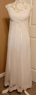 Shadowline Nightgown Ivory Chiffon Overlay Vintage 60s Bridal Size Small Long