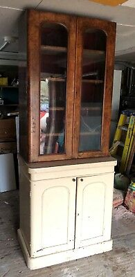 Victorian two part kitchen dresser cupboard cabinet Shabby Chic for repainting