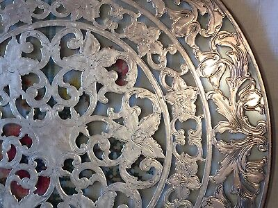 """Large American Sterling Silver Overlay Glass Trivet by Webster 8"""" 925"""
