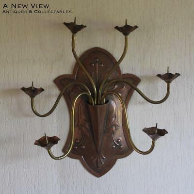 Large Arts & Crafts hammered brass copper wall candle holder.
