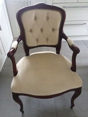 vintage,french,louis,style,wood frame,cabriole legs,arm chair,chair