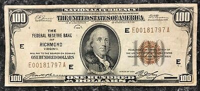 1929 $100 Richmond U.s. National Currency Note Brown Seal ~ Vg+ Condition! Nr!
