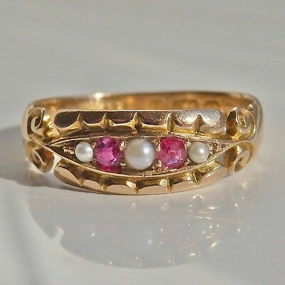 Antique Victorian 15ct Gold Ruby & Pearl Ring c1891; UK Size 'O 1/2'