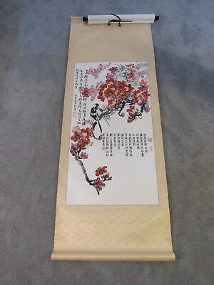Beautiful Chinese scroll painting on paper of birds and flowers (SF60)