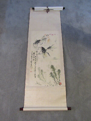 Beautiful Chinese scroll painting on paper of fish in pond (SF53)