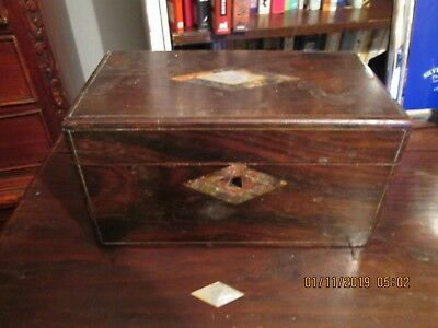 Antique Georgian rosewood tea caddy box inlaid with mother of pearl
