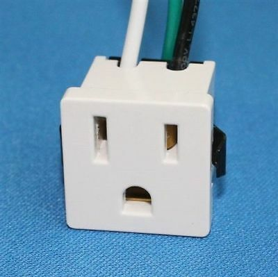Zing Ear ZE-3B-2 Receptacle Power Plug Snap-In 3 Prong 15A 10A White