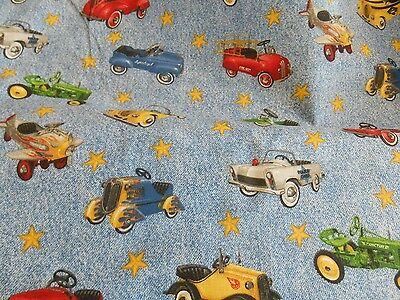 "Vintage riding toys quilt weight 100% cotton woven fabric 3 yd x 44"" wide"