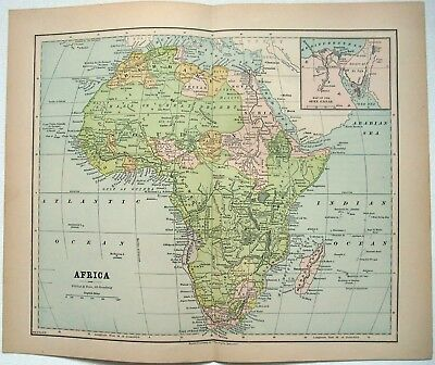 Original 1881 Map of Africa by Phillips & Hunt. Antique