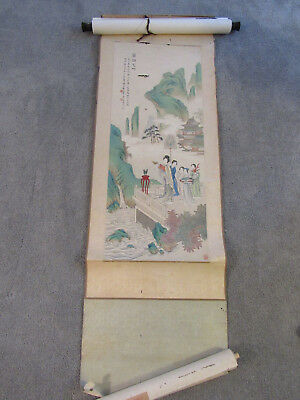 Beautiful old Chinese scroll painting on paper of maidens and offerings (SF51)