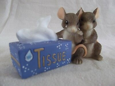 """I'M HERE FOR YOU"" Charming Tails mice and tissue figurine NIB"