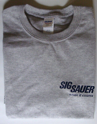 Sig Sauer firearms ash gray T-shirt 90/10 cotton size small Gildan NRA show