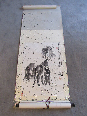 Chinese scroll painting on paper of donkeys (LG6)