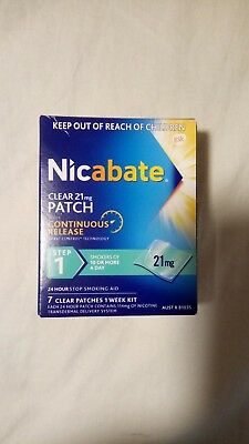 Nicabate clear 21mg PATCH, step1, 7 patches, quit smoking (nrt), SEE BELOW pls