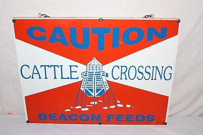 """Vintage 1960's Beacon Feeds Cattle Crossing Cow Feed Farm 24"""" Metal Sign~Nice"""