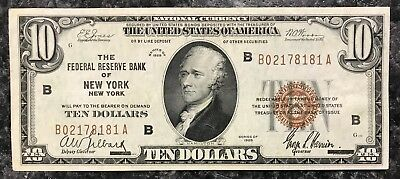 1929 $10 New York U.s. National Currency Note Brown Seal ~ Au Condition! Nr!