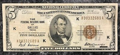 1929 $5 Dallas, Tx U.s. National Currency Note Brown Seal ~ Good Condition! Nr!