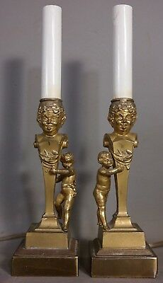(2) Antique VICTORIAN Figural DEVIL BOY BUST Old PUTTI Statue CANDLESTICK LAMP